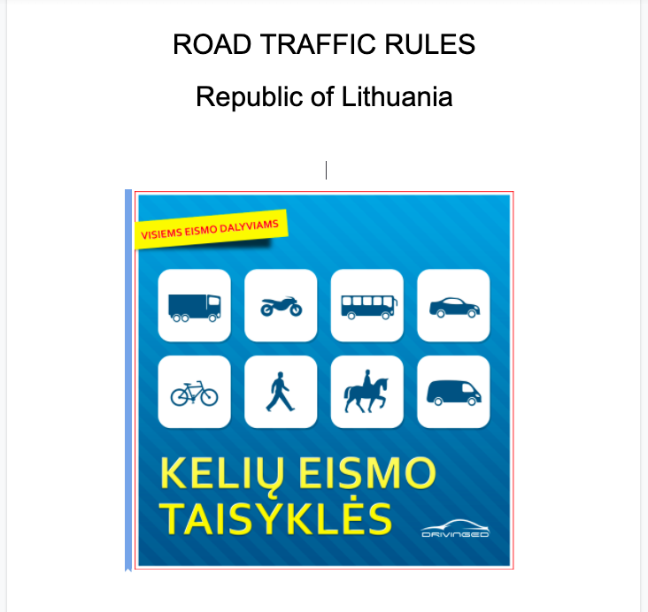 Road Traffic Rules Lithuania New Updated